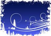 Fond hiver grunge avec des flocons de neige sapin et santa clau — Vecteur
