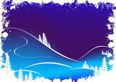 çam ağacı-kar taneleri ve santa clau grunge kış arka plan — Stok Vektör