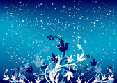 Abstract winterbackground with flakes and flowers in blue color — Stock Vector