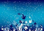 抽象 winterbackground 片和蓝颜色的花 — 图库矢量图片