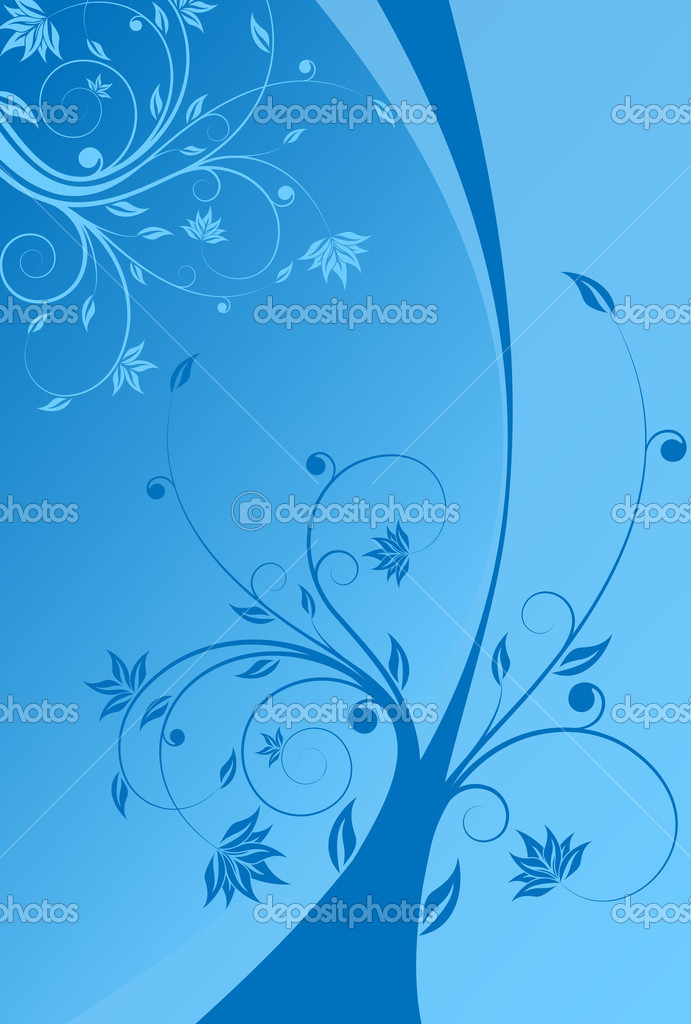 Abstract painted background with floral scroll in blue color — Stock Vector #12000980