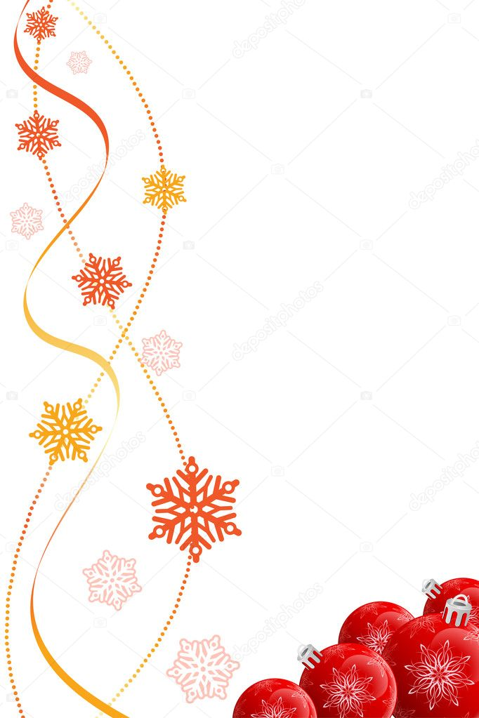 Abstract Christmas background with baubles and snowflakes — Stok Vektör #12008285