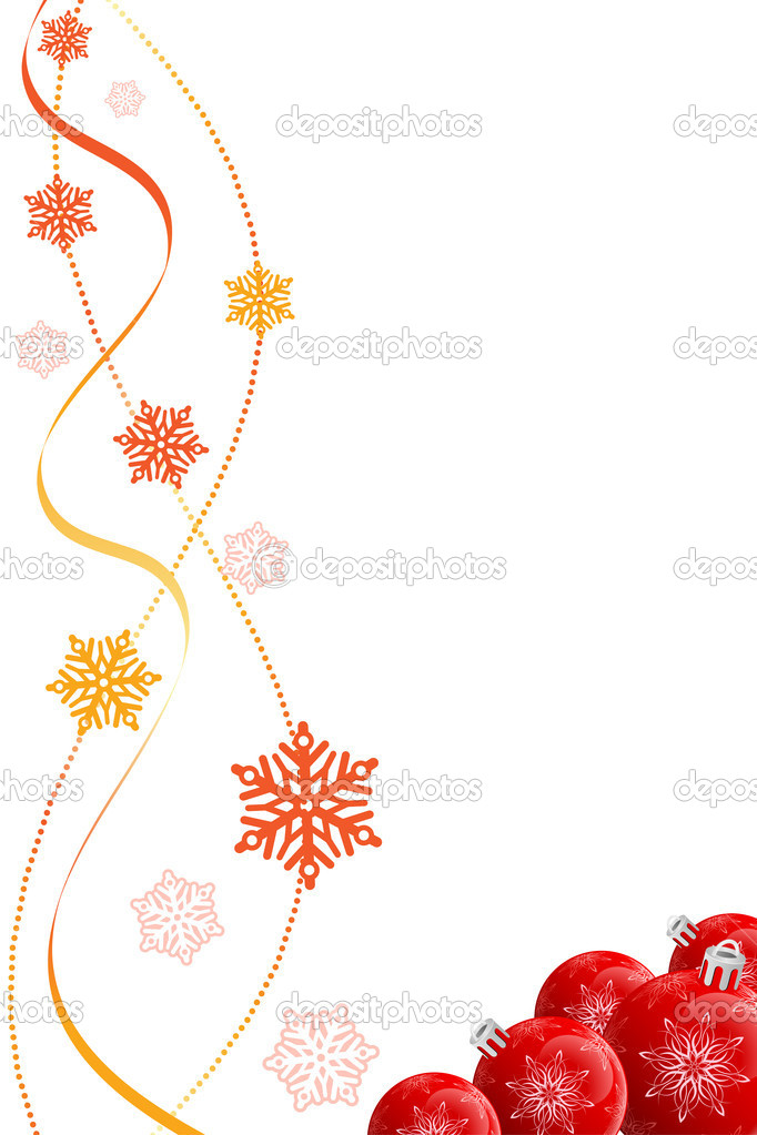 Abstract Christmas background with baubles and snowflakes — Stockvektor #12008285