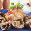 Jacket potato with white beans and mushrooms — Stock Photo #12048152