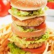 Double chicken burger — Stock Photo