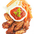 Stock Photo: Grilled chicken wings