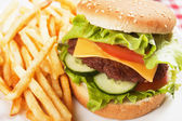 Classic hamburger with french fries — Stock Photo