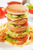 Doble hamburguesa de pollo — Foto de Stock