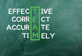 Chalk drawing - TEAM: effective,correct,accurate,timely — Stock Photo