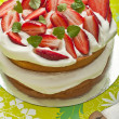 Strawberries and cream cake - Stock Photo