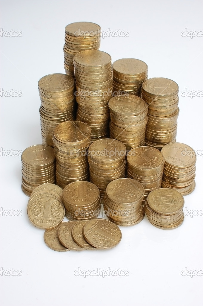 It is a lot of coins combined by piles, columns. — Stock Photo #12181240