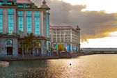 The embankment at sunset, Port-Louis- capital of Mauritius — Stock Photo