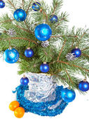New Year's still-life - fur-tree branches — Stock Photo