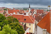 Mostra di vecchi tetti della città in una tempesta di tuoni. tallinn. estonia — Foto Stock