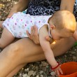 Baby playing on the beach — Stock Photo #12374787
