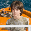 Kid Driving a Pilot Boat — Stock Photo