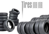 Many tires on white background — Stock Photo