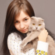 Girl with cat — Stock Photo