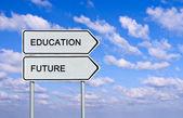 Znak drogowy do edukacji i przyszłość — Zdjęcie stockowe