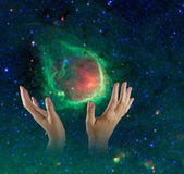Galaxy in hands.Elements of this image furnished by NASA — Stock Photo