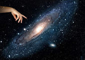Pointing to galaxy.Elements of this image furnished by NASA — Stock Photo