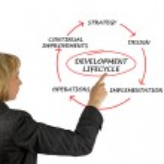 Presentation of development lifecycle — Stock Photo