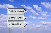 Strada firmare al green living, buona salute e felicità — Foto Stock