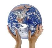 Planeta terra em hand.elements da imagem fornecida pela nasa — Foto Stock