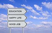 Señal de tráfico eduacation, vida feliz y buen trabajo — Foto de Stock