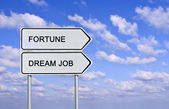Road sign to fortune and dream job — Foto Stock