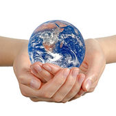 Planet earth in hand.Elements of this image furnished by NASA — Stock Photo