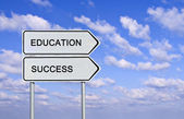 Road sign to eduacation and success — Stock Photo