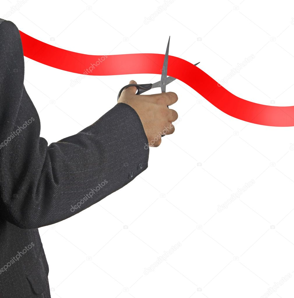 Cutting red tape — Stock Photo #11810381