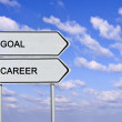 Road sign to goal and career — Stock Photo