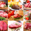 Stock Photo: Collage with different meat