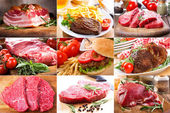 Collage with different meat — Stock Photo