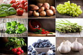 Collage with vegetables, herbs and berries — Foto Stock