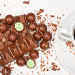Hot coffee with lots of chocolates — Stock Photo