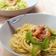 Spaghetti pasta with fresh shrimps and zucchini sauce — Stock Photo #11625358