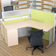 Office desks and black chairs cubicle set — Stock Photo