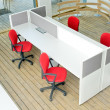 Office desks and red chairs cubicle set — Stock Photo #11909935