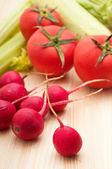 Fresh raddish and vegetables — Stock Photo
