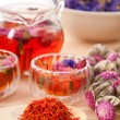 Herbal natural floral tea infusion with dry flowers — Stock Photo