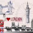 Set of London symbols — Stock Vector