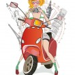 Stock Vector: Girl traveling on scooter to sights