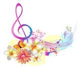 Música de verano con flores y mariposas — Vector de stock