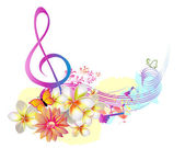 Zomer muziek met bloemen en vlinder — Stockvector