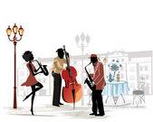 Músicos de la calle con un saxofón y contrabajo en el fondo de un café callejero — Vector de stock