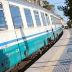 Cinque Terre. Train at station Manarola — Stock Photo