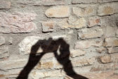 The shadow of the photographer on the wall — Stock Photo